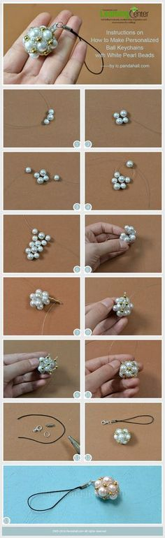 Instructions on How to Make Personalized Ball Keychains with White Pearl Beads #tutorial #keychain #pearjewelry PandaHall Promotion: use coupon code MayPINEN10OFF for 10% off for your orders, valid time from May 18 to May 31.