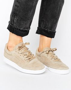 Buy it now. Reebok Club C 85 Lst Trainers In Sand Suede - Beige. Trainers by Reebok, Suede upper, Lace-up fastening, Branded tongue and cuff, Padded for comfort, Perforated toe cap, Moulded tread, Wipe with a damp sponge, 100% Real leather Upper. Originally formed back in 1895, Reebok looks to its heritage to define its future as an undisputed streetwear pioneer. With high performance credentials, its iconic plimsolls and hi-top trainers are stamped with authenticity to look just as good…