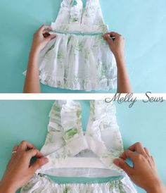 Step 4 - Sew a Ruffle Strap Pinafore Dress - Apron Dress for Girls - with free pattern and video tutorial on Melly Sews
