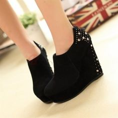 Women's Suede Rivet Decorated Back Zipper Wedge Heel Shoes Black on buytrends.com