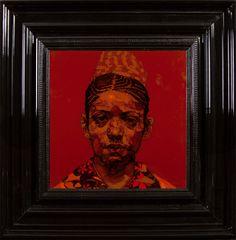 Femme aux Tresses  - Encre et Acrylique sous Perspex - 53 x 53 cm (hors cadre)