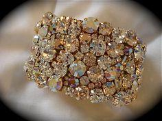 Rose Gold Crystal Wedding Cuff Bracelet   - Swarovski Crystal