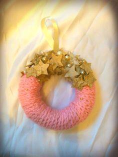Rózsaszín csillagos kopogtató, Dekoráció, Karácsonyi, adventi apróságok, Karácsonyi dekoráció, Ünnepi dekoráció, Meska