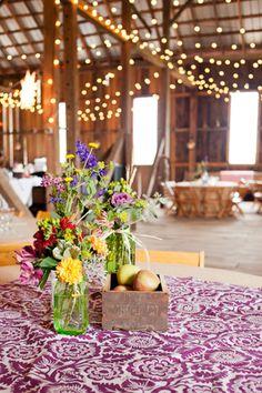 Barn Country Wedding With Lights