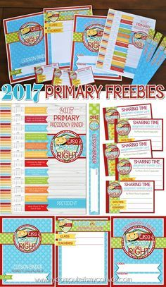 FREE 2017 PRIMARY PRINTABLES - Presidency Binder Covers/Spines, Lesson Binder Covers/Spines, Sharing Time Assignment Cards, and two types of Door Signs! #mycomputerismycanvas Choose the Right, CTR Printables