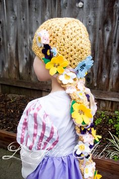 Child Rapunzel Hair Crochet Hat with lots of flowers!