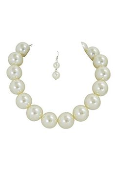 Mod 60's Pin-up Chunky White Faux Pearl Bridal Cocktail Party Statement Necklace & Earrings Set * You can find more details by visiting the image link.