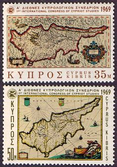 Cyprus 1969 Ancient Maps Set Fine Mint SG 329 - 330 Scott 324 - 325 Other European and British Commonwealth Stamps HERE!