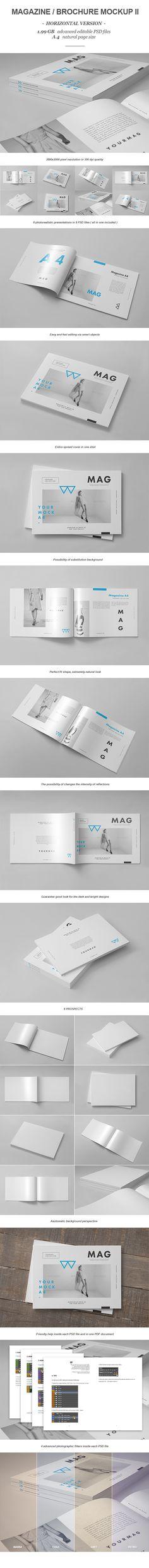 Horizontal Magazine Brochure Mock-up II by yogurt86 Design Studio, via Behance