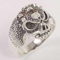 Vintage Style 925 Sterling Silver Punk Skull Cool Biker Finger Ring Size US 10 #Unbranded