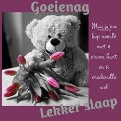 Afrikaanse Quotes, Good Night Blessings, Goeie Nag, Good Night Quotes, Good Morning, Teddy Bear, Words, Christmas Candles, Sayings
