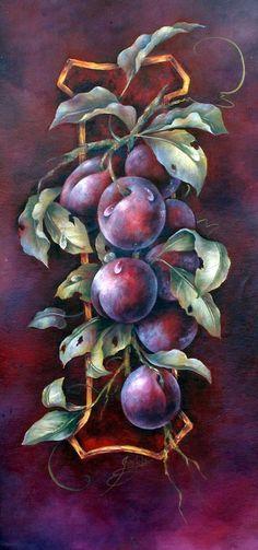 Fruit Painting, China Painting, Tole Painting, Botanical Drawings, Botanical Art, Tole Decorative Paintings, Still Life Art, Fruit Art, Beautiful Artwork