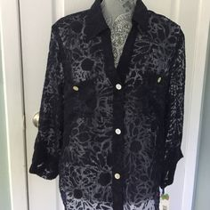 Sheer and gorgeous black button down top Black sheer blouse with flour design.  Button up to collar.  Pearl round buttons.  Two pockets on bust area.  Long sleeves fold up to button.  Wear over any cut Cami with white pants for a great spring to summer look.  s͏͏m͏͏o͏͏k͏͏e͏͏ f͏͏r͏͏e͏͏e͏͏ ❌P͏͏P͏͏ ❌T͏͏r͏͏a͏͏d͏͏e͏͏s͏͏ ✔F͏͏a͏͏s͏͏t͏͏  ✔u͏͏s͏͏e͏͏ t͏͏h͏͏e͏͏ o͏͏f͏͏f͏͏e͏͏r͏͏ o͏͏r͏͏ b͏͏u͏͏y͏͏ b͏͏u͏͏t͏͏t͏͏o͏͏n͏͏ Sapphire star Tops Button Down Shirts