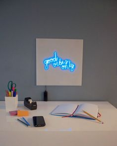 Bend EL wire to create safe, affordable glowing words and graphics. Neon Crafts, Diy Crafts, Hanger Crafts, Diy Neon Sign, Custom Neon, Led Diy, Led Signs, Diy Electronics, Good Vibes Only