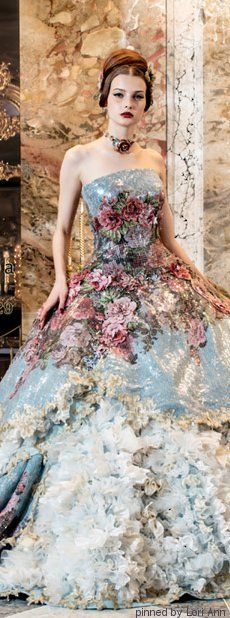 landscape dress with raised detailing. Beautiful Gowns, Beautiful Outfits, Pretty Outfits, Pretty Dresses, Fairytale Dress, Mode Chic, Gowns Of Elegance, Flower Dresses, Dream Dress