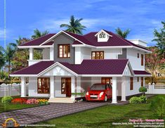 Veedu Model Two Story Small House Design Small Traditional House Modern Exterior House Designs, Classic House Exterior, Modern House Facades, Latest House Designs, Dream House Exterior, Exterior House Colors, House Roof Design, 2 Storey House Design, Bungalow House Design