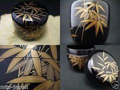 Japanese-WAJIMA-Lacquer-Wooden-tea-caddy-Bamboo-makie-Natsume-701