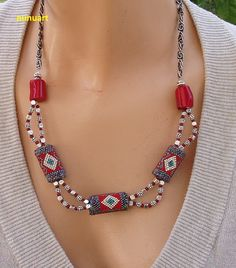 Embroidry beaded necklace -Yemenite style with Coral and silver ton beads