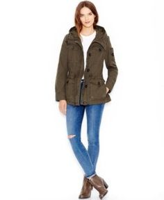 Levi's Hooded Military Jacket - Green S