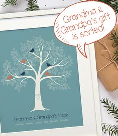 Personalized Gift for Grandparents, Nana & Grandpa Gift, Gift From Grandkids, Personalized Grandchildren Family Tree, PRINTABLE Personalized Gifts For Grandparents, Personalised Family Tree, Family Tree Print, Family Trees, Grandma And Grandpa, Grandpa Gifts, Parent Gifts, Family Gifts, Grandchildren