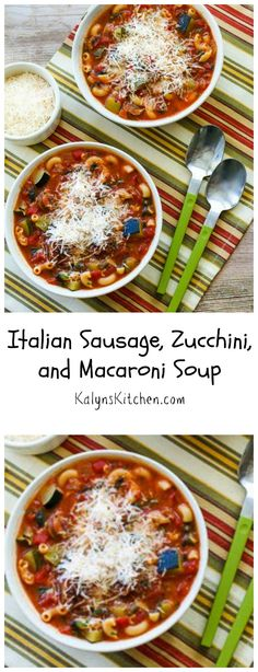 This Italian Sausage, Zucchini, and Macaroni Soup is a perfect season-spanning recipe for those fall nights when you still have zucchini but the weather is cooling down! [from KalynsKitchen.com]
