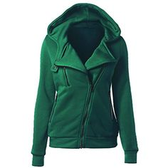 Women Autumn Winter Sweatshirt Zipper Hooded Jacket Hoodie Women's Hoodie Solid Coat Clothing (Green, XL) ** More info could be found at the image url. (This is an affiliate link) #FashionHoodiesSweatshirts
