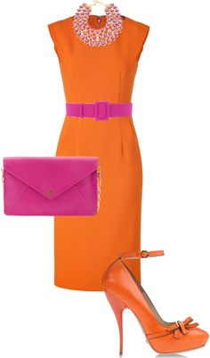 """Pink and Orange"" by twinkle0088 ❤ liked on Polyvore"