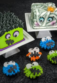Learn how to make a Monster family of treats for Halloween with a Frankenstein cake, Mummy cake, and little monster cupcakes.