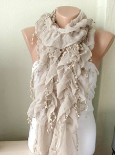 NEW 2012 Spring Model  Beige Color Ruffle Scarf from 100 by Periay, $19.00