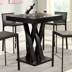 Crisscross Square Bar Table by Coaster Furniture in Bar Tables and Pub Tables. Perfect for small dining areas or an entertainment room, this square bar table by Coaster Furniture features bold crisscross supports. Home Bar Table, Bar Table Sets, Bar Height Table, Bar Tables, Small Kitchen Tables, Dining Table In Kitchen, Small Dining, Kitchen Ideas, Small Tables