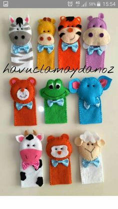 Hand Glove Puppets Ideas Five Different Animals One On