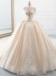 Chammpagne Ball Gown Tulle Sequins High Neck Backless Wedding Dress Silhouette:ball gown Hemline:floor length Neckline:high neck Fabric:tulle Shown Color:champagne Sleeve Style:sleeveless Back Style:lace up Embellishment:appliques beading Western Wedding Dresses, Princess Wedding Dresses, Dream Wedding Dresses, Bridal Dresses, Gown Wedding, Tulle Wedding, Wedding Venues, Princess Ball Gowns, Pretty Dresses