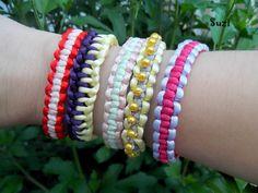 Design by Suzi: Macramé: Uzlíkový štvorcový náramok Square Knot Bracelets, Bracelet Knots, Bangles, Fun Stuff, Jewelry, Kids, Design, Bracelets, Fun Things