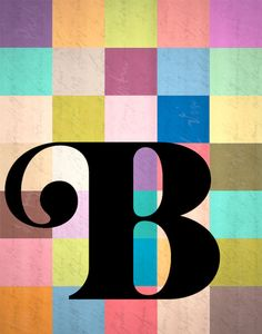etter initial monogram art color block print
