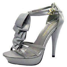 Save 10% + Free Shipping Offer * | Coupon Code: Pinterest10 Material: Man Made Material 4.5 inches Product Code:Lamis02 Grey Women's Wild Diva Lamis-02 Grey Strappy High Heel Sandals
