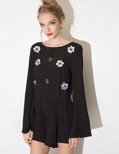 Flared Sleeves are Back For Spring 2015: 17 Pieces to Buy - Beaded Black Romper, $78; at Pixie Market