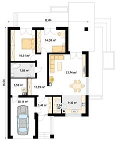 DOM.PL™ - Projekt domu MT Ariel 2 CE - DOM MS2-19 - gotowy koszt budowy House Layout Plans, Dream House Plans, House Layouts, Three Bedroom House Plan, Home Projects, Tiny House, Sweet Home, Floor Plans, House Design