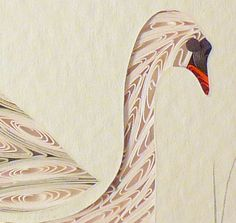 Quilled Little One Swan Bookcase Art