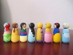 Princess Peg People  Set of 8 Wooden Hand Painted  2 by PegBuddies, $45.00