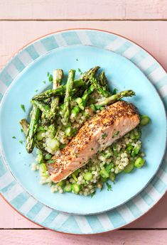 Honey Mustard Salmon with Roasted Asparagus and Israeli Couscous Pilaf | HelloFresh Recipe