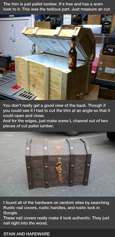 DIY cooler made into a pirate chest...doesn't look too hard!