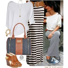 go stripes by norwich-ave on Polyvore maxi dress #anna7891 #style for women #womenfashionwww.2dayslook.com