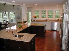 A U-shaped island can be used on 6 sides for a party-ready kitchen. http://www.hgtv.com/kitchens/20-party-ready-kitchens/pictures/page-2.html?soc=pinterest