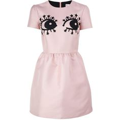 Redvalentino Novelty Eye Print Dress (29.450 RUB) ❤ liked on Polyvore featuring dresses, pink, structured dress, short skirts, short mini skirts, short miniskirt and stretch mini skirt