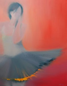 Colorful Canvas Art - Ballerina Giclee Print of oil dancer painting