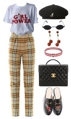 """""""artschool aesthetic"""" by lalagenue ❤ liked on Polyvore featuring Emilia Wickstead, Gucci, kangol and Chanel"""