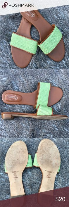 Talbots green leather slides Pre-owned in good condition. Size 7. Perfect for summer! ❤️❤️❤️ offers welcomed! Talbots Shoes Slippers
