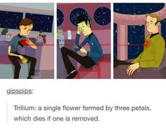 This is so lovely and bittersweet :) >> Spock and Bones would vehemently deny it, but it's true Star Trek Tos, Star Wars, Star Trek Original, Starship Enterprise, Buffy The Vampire, Love Stars, I Movie, Movies And Tv Shows, Sci Fi