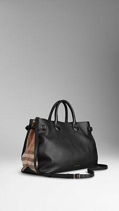 Grand sac tote en cuir avec touches de house check | Burberry