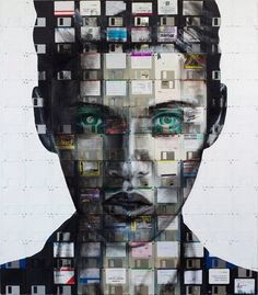 "London artist Nick Gentry creates art from ""the obsolete technology of society"", most notably: his floppy disk paintings."